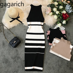 Fashion Striped Stretch Women Dress Sleeveless