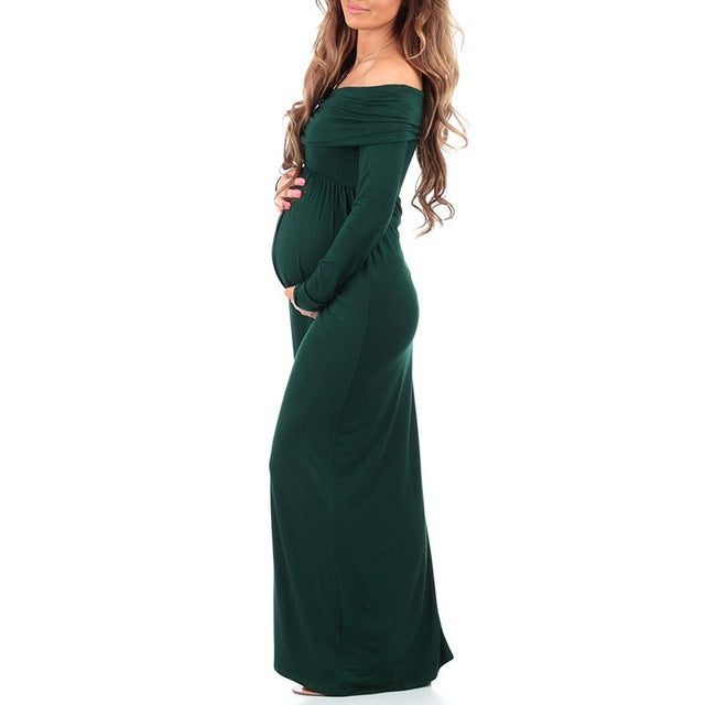 Women Cowl Neck Maternity Dress Long Sleeve Pregnant Clothing for Photography