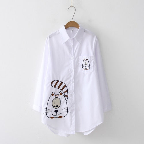 2019 NEW White Shirt Casual Wear Button Up Turn Down Collar Long Sleeve Cotton Blouse Embroidery Feminina HOT Sale T8D427M