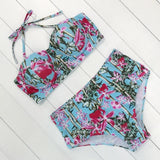 Sexy Floral Print High Waist Swimsuit