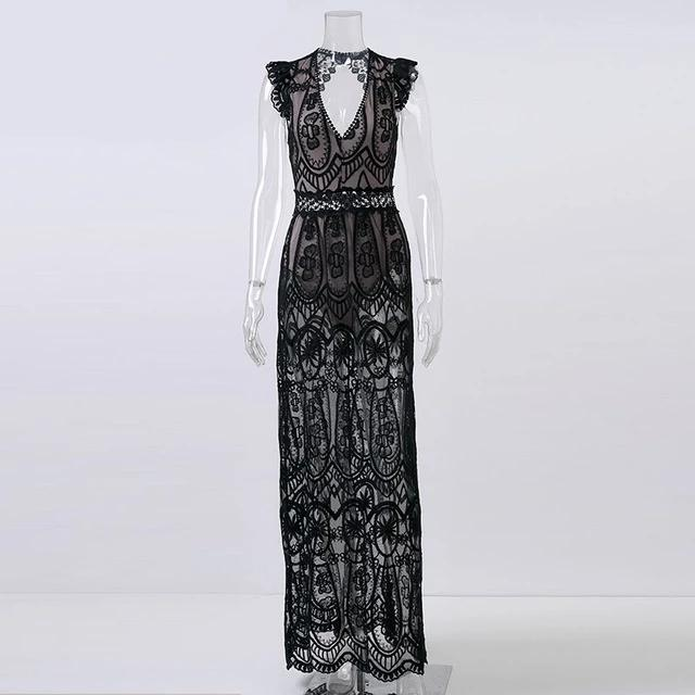 Sexy Hollow Out Lace Dress Elegant Woman Long Party