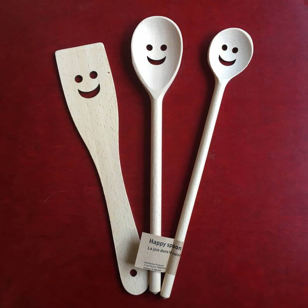 "Set de 3 Cuillères en Bois ""Happy Spoon"""