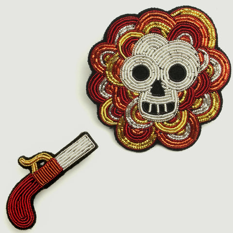 "Coffret Broches Brodées ""Gun & Skull Head"""