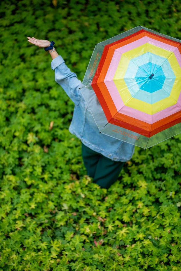 parapluie transparent cloche DLP arc-en-ciel
