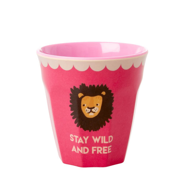 gobelet en mélamine rose pour enfant rice lion wild and free