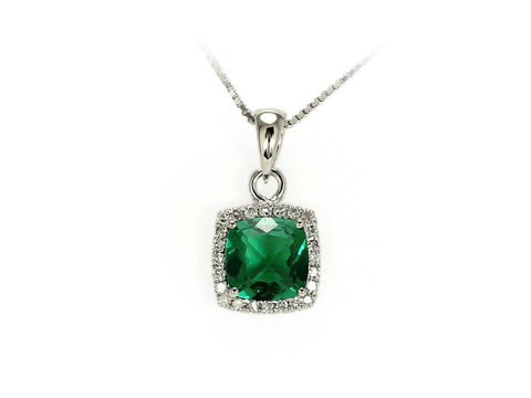 White Gold Created Emerald and Diamond Pendant with Chain