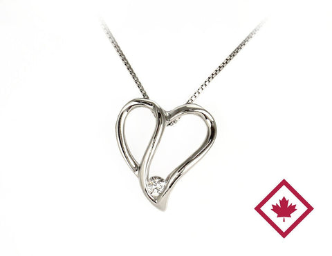 White Gold Canadian Diamond Heart Pendant with Chain