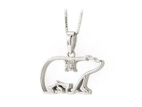 Canadian Diamond Polar Bear Pendant with Chain