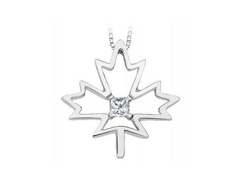 Canadian Diamond Maple Leaf Pendant with Chain