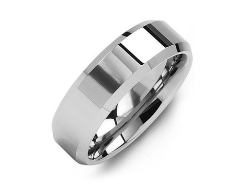 Madani Polished Beveled Tungsten Wedding Ring