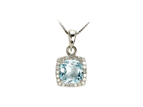 White Gold Aquamarine and Diamond Pendant with Chain