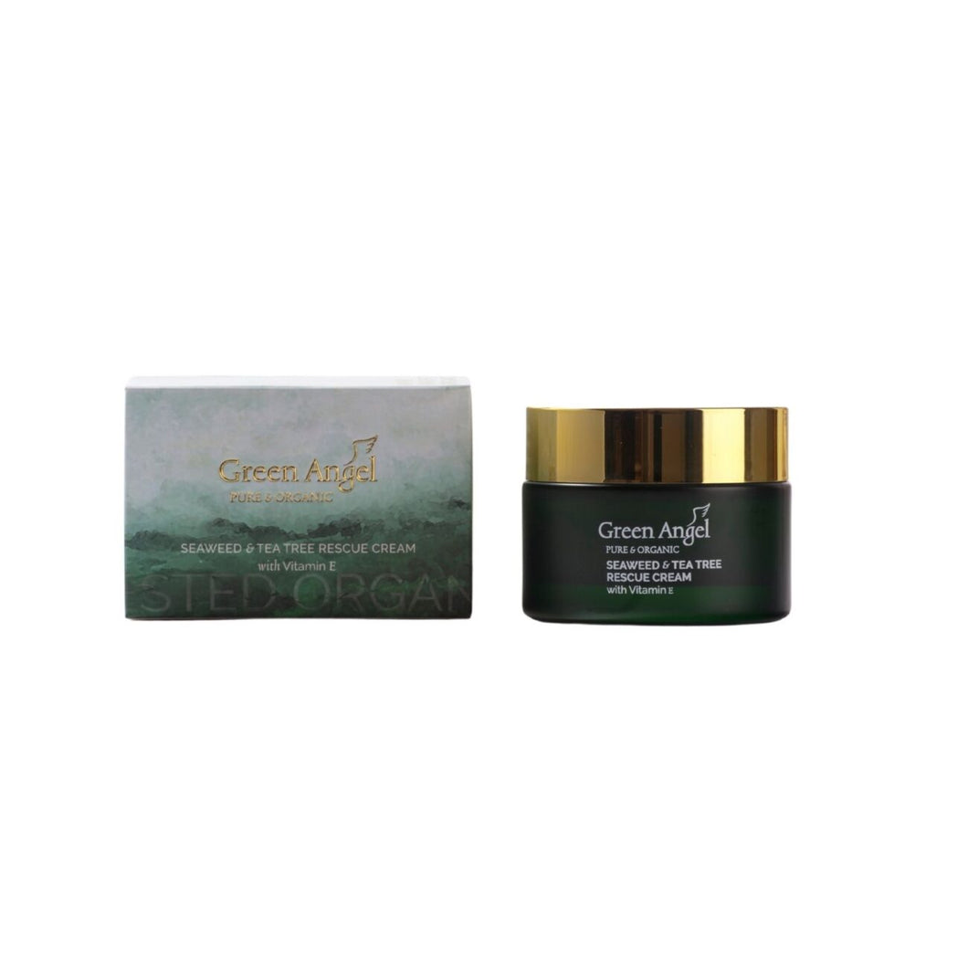 Green Angel Pure & Organic Seaweed & Tea Tree Rescue Cream with Vitamin E