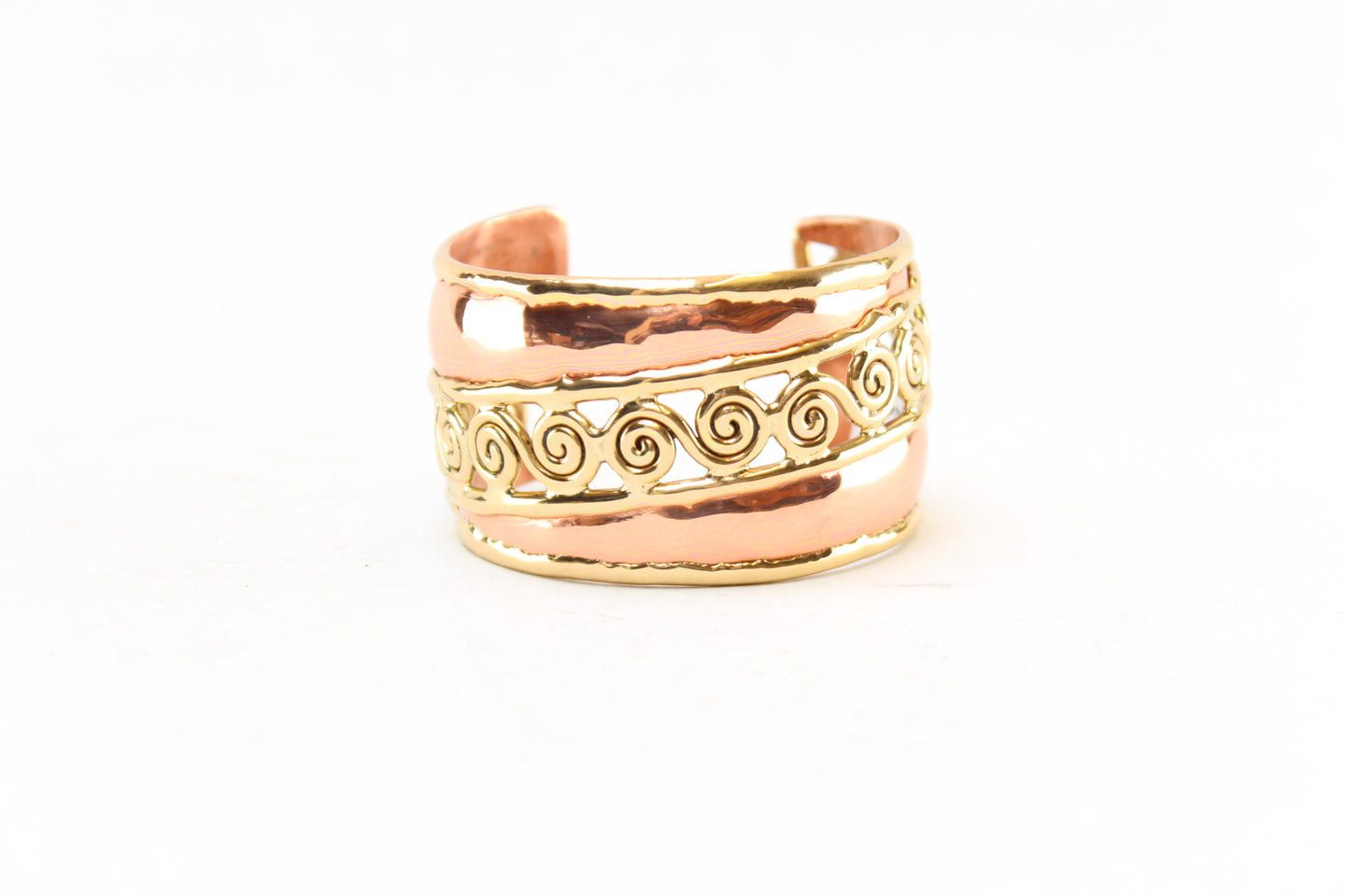 Spiraled Wide Copper 2 Tone Bangle
