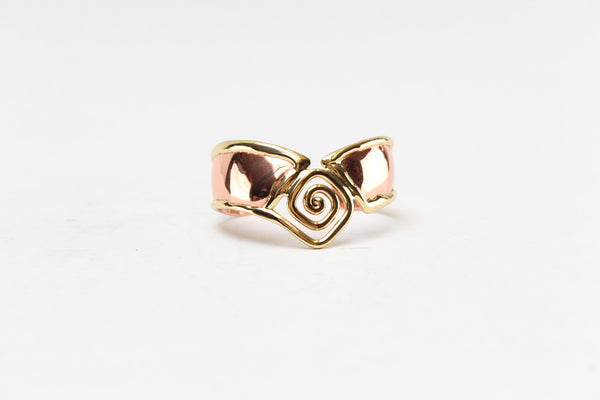 "Celtic Spiral ""V"" Shape Copper 2 Tone Bangle"