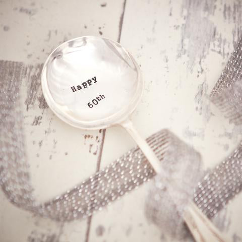 Silver plated vintage tea spoon hand stamped with 'Happy 60th'