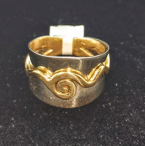 Silver and Gold Celtic Ring Size large