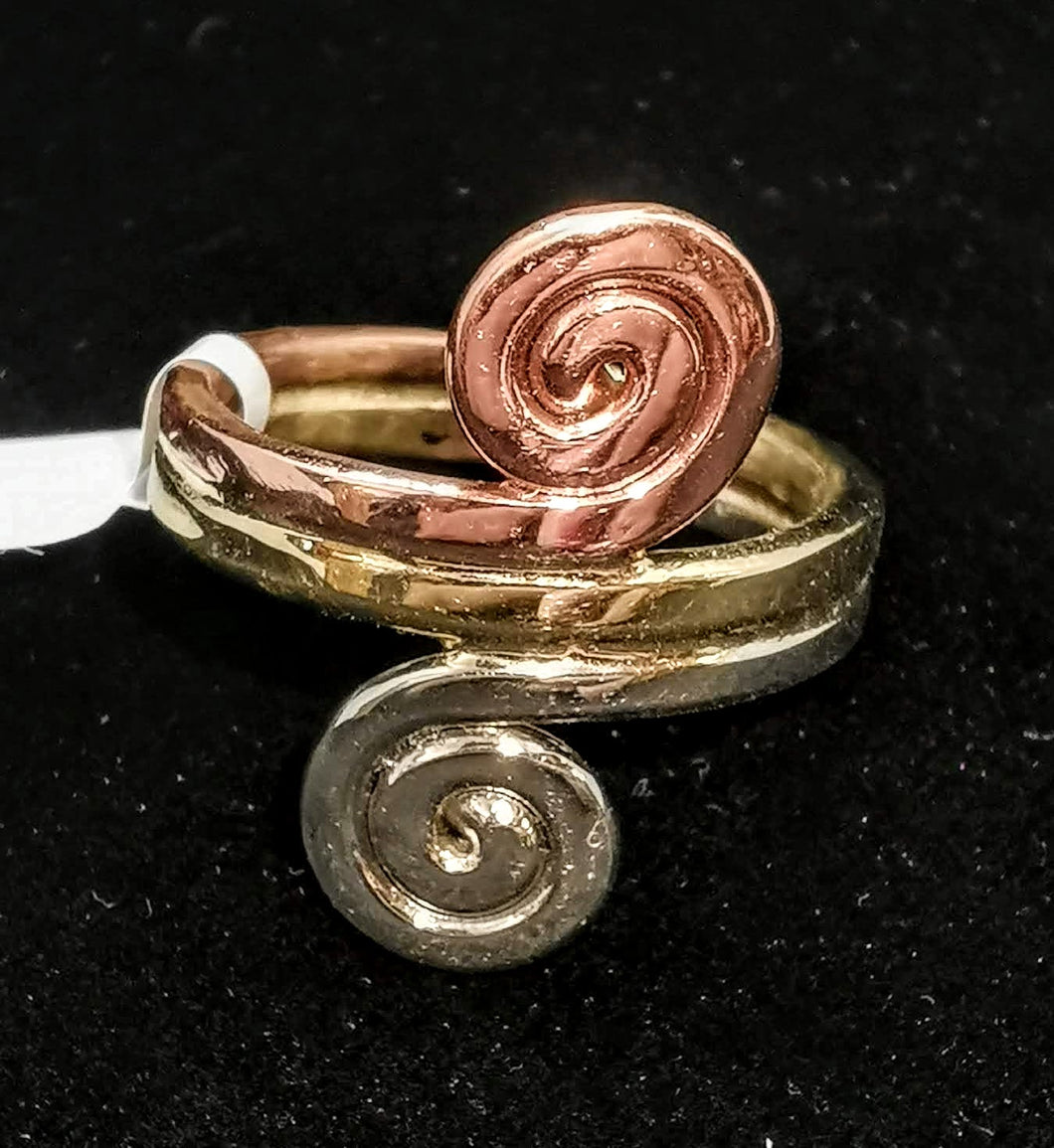 Celtic Ring Gold, Silver and Copper size Medium
