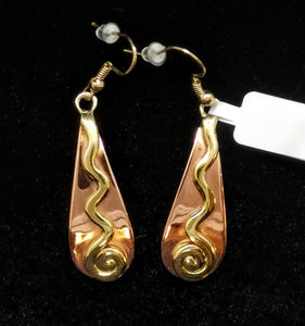 Copper and Gold Teardrop Earrings