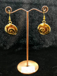 Golds and Copper Circle Hanging Earrings