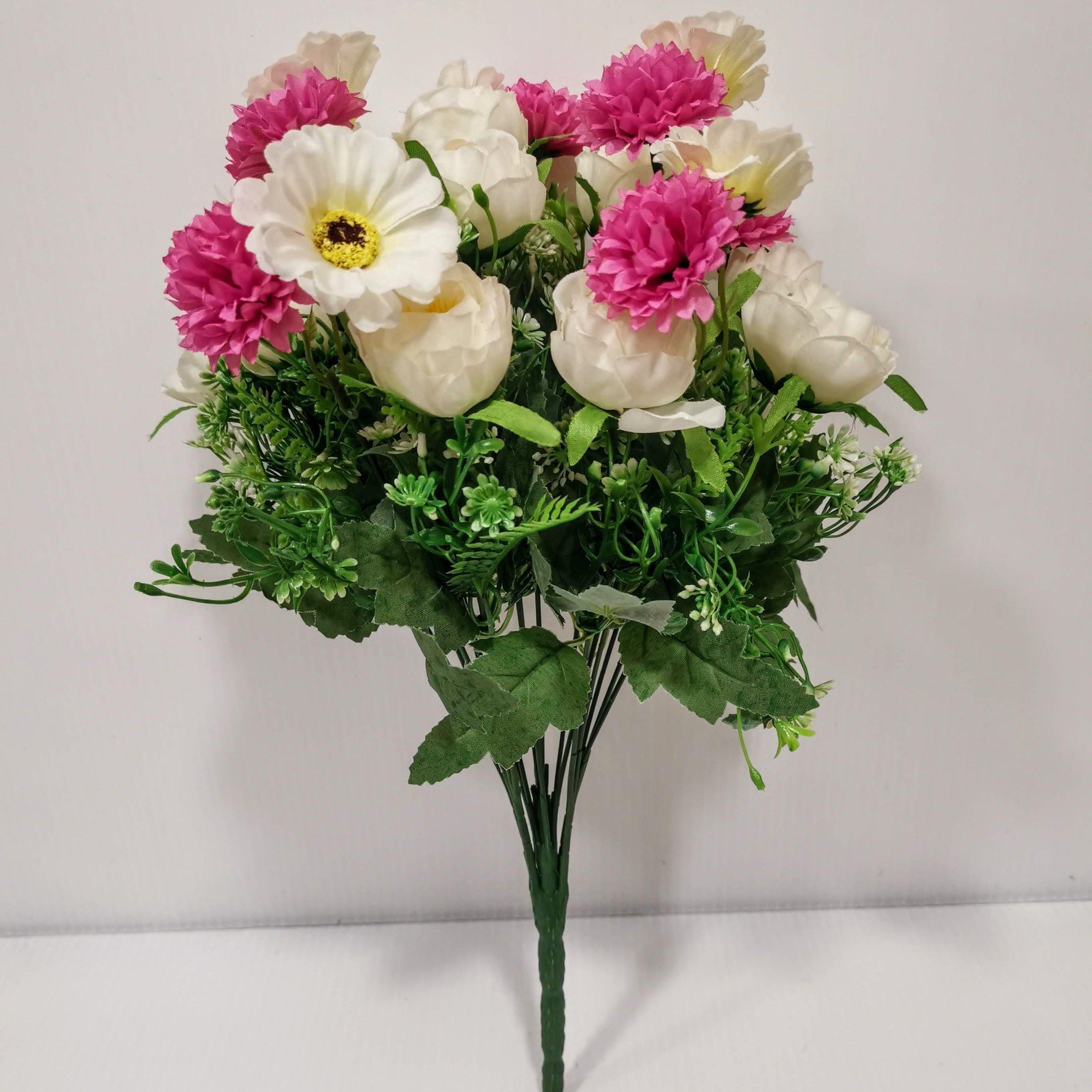 Pink & White Fabric Mixed Flower Bunch