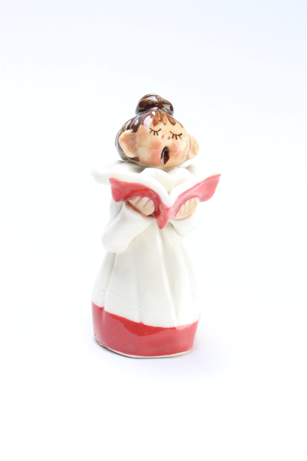 Abbey Crafts - Tall Girl Carol Singer with Brown Hair and Top Knot