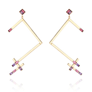 Galactic Linear Constellation Two-Toned Earrings
