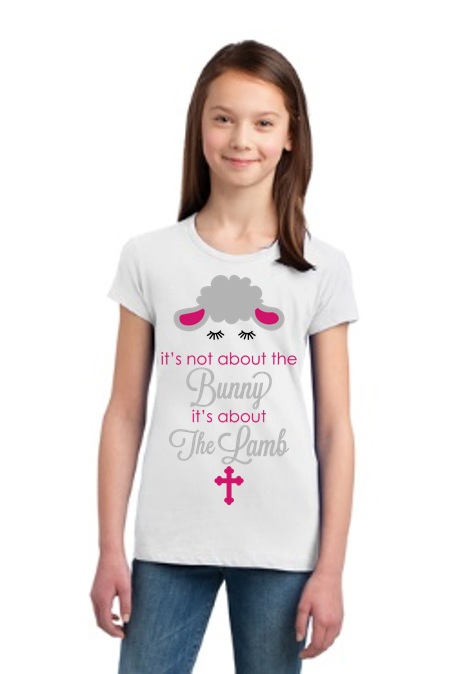 Its not about the bunny its about the lamb Girl Youth Tee