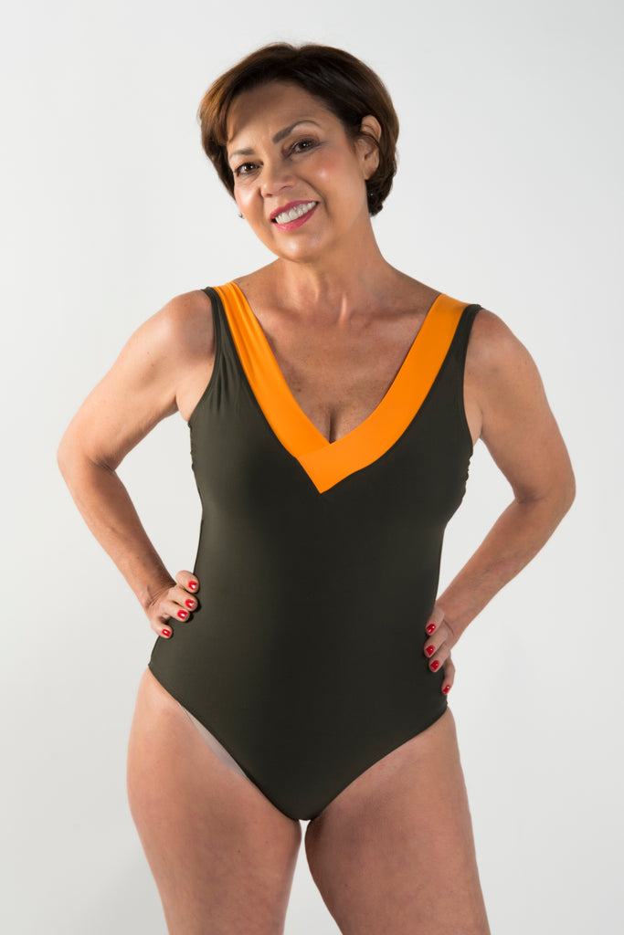 MARISA One-Piece Swimwear - Kaki & Naranja