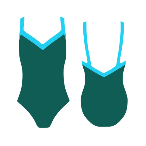 LAURA One-Piece Swimwear - Verde y Turquesa