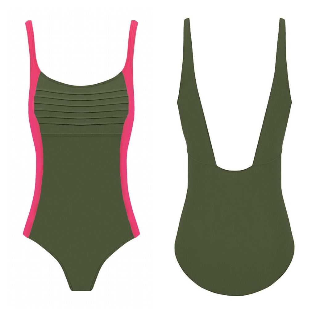 BEGONIA One-Piece Swimwear - Kaki & Fresa
