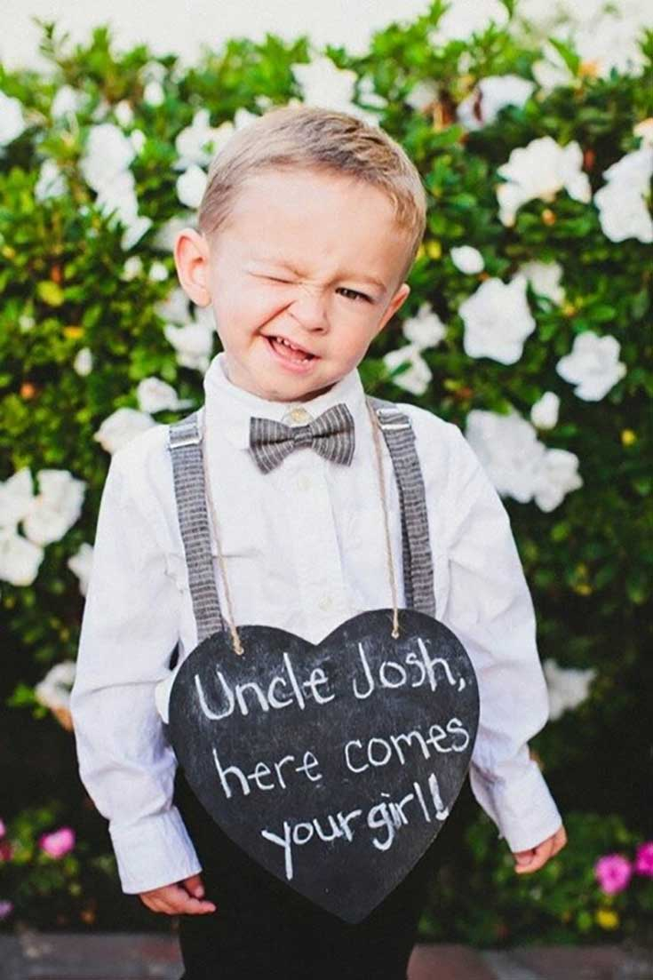 Wedding Chalkboard Here Comes Your Girl Ring Bearer