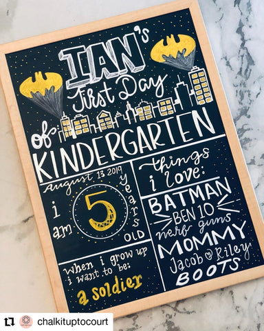 Batman First Day of School Boards