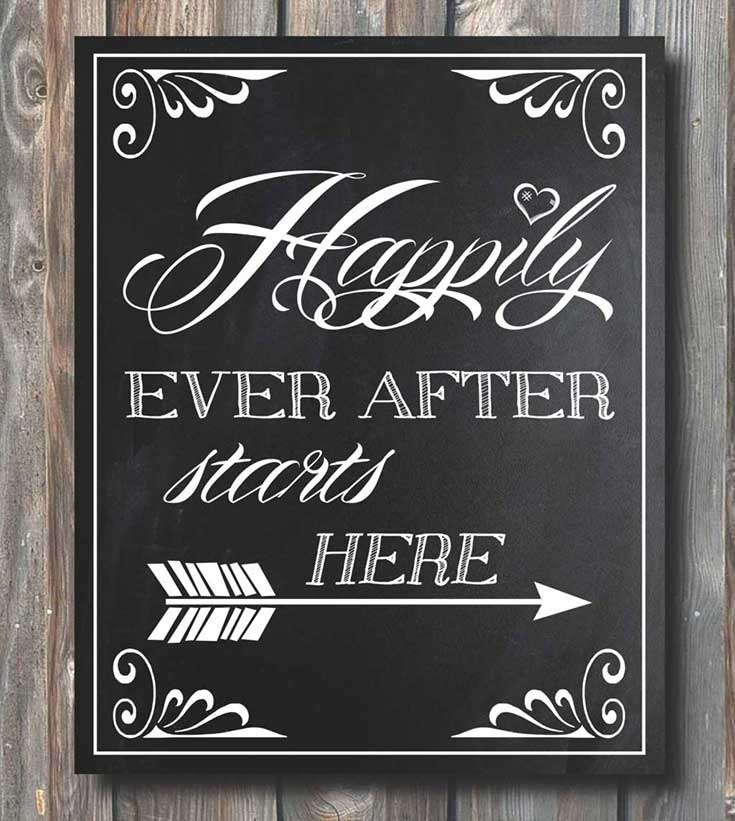 1. Must have chalkboard for your wedding - Happily Ever After Starts Here