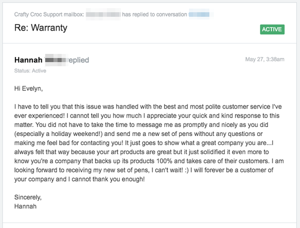 hannah review email