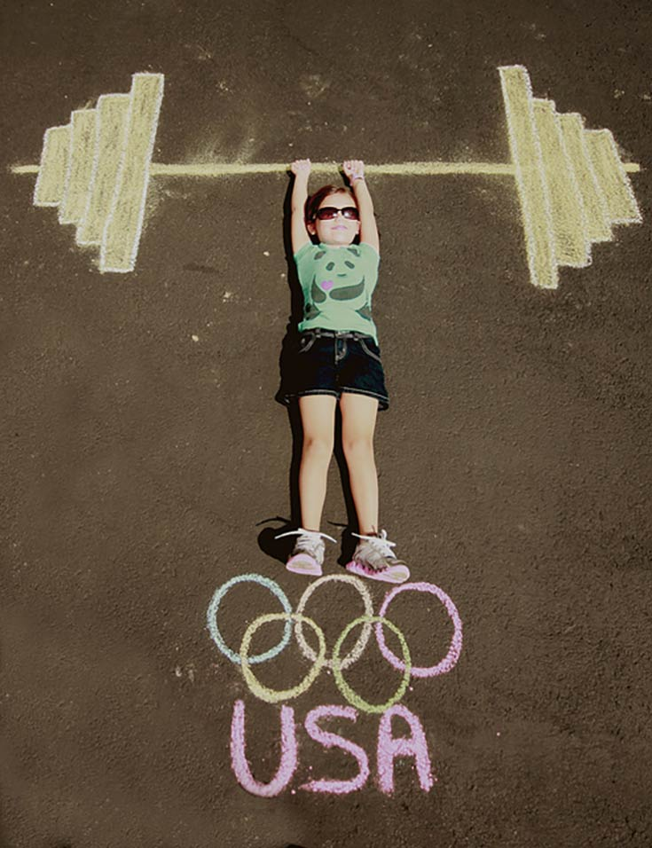 2016 Rio Olympic Games Weightlifting Chalk Art
