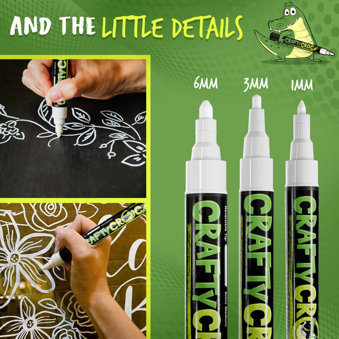 Liquid Chalk Markers - 5 White Multi Size Tips