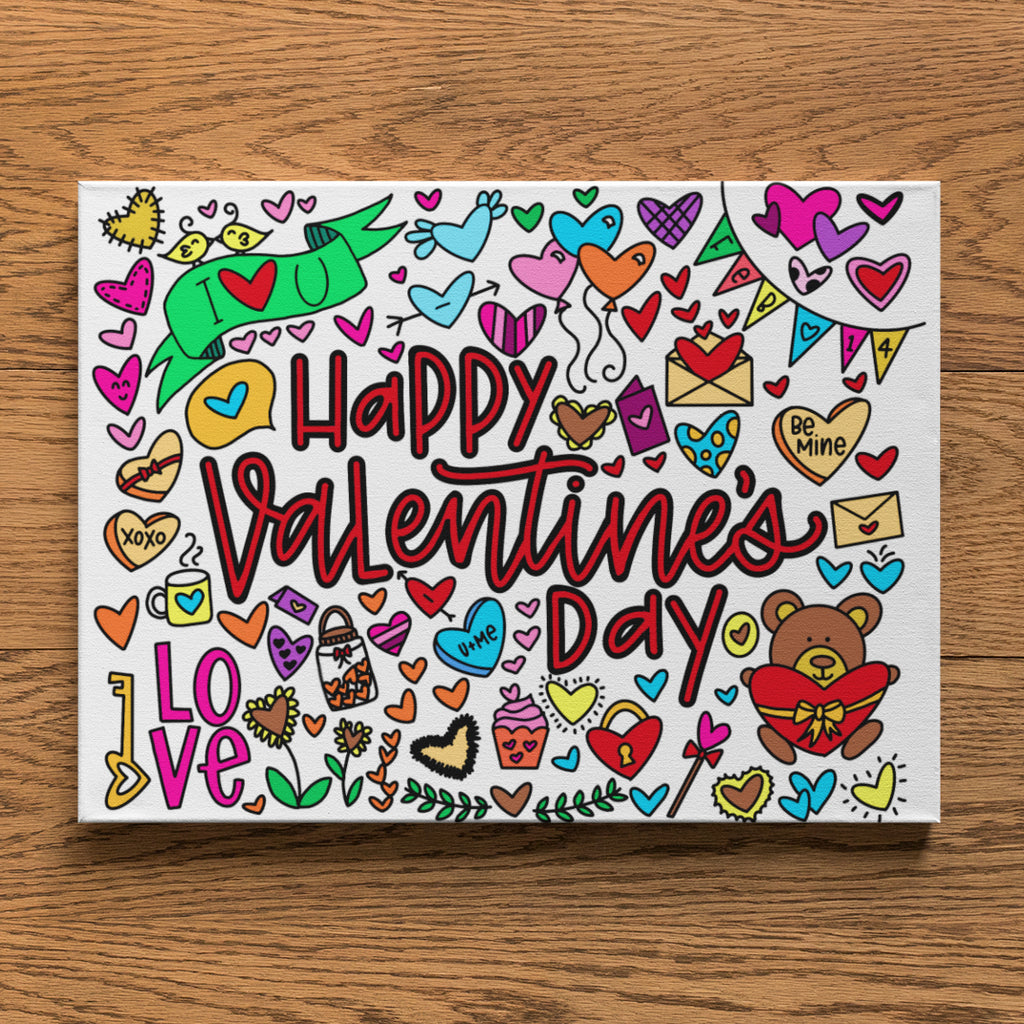 Valentine's Day Coloring Canvas (8x10)