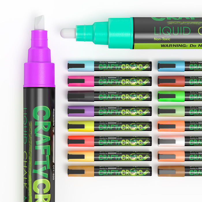 Liquid Chalk Markers - 18 Pack (Neon & Earth Colors!)