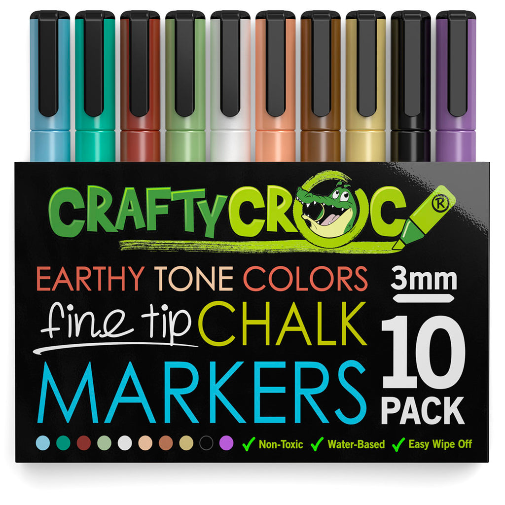 Fine Tip Liquid Chalk Markers - 10 Earth Colors
