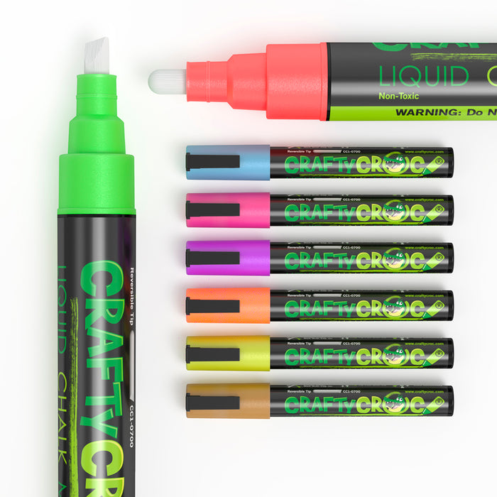 Wet Erase Markers By Crafty Croc 8 Neon Liquid Chalk Colors