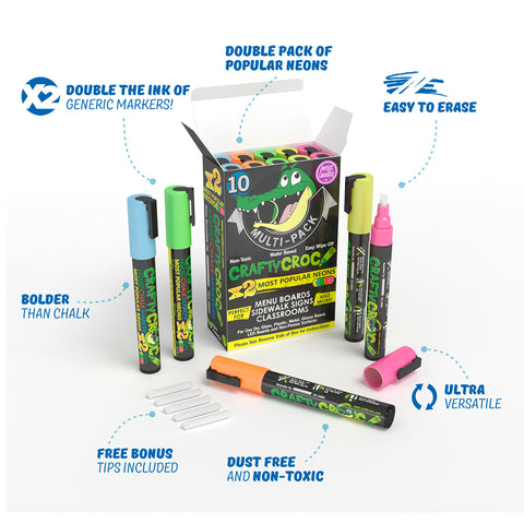 Liquid Chalk Markers - 10 Double Neon Multi-Pack