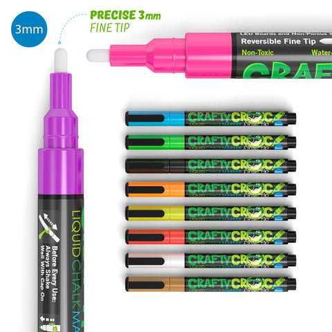 Fine Tip Liquid Chalk Markers - 10 Neon Colors