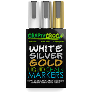 Liquid Chalk Markers - 3 Accent Pack (Gold, Silver and White)