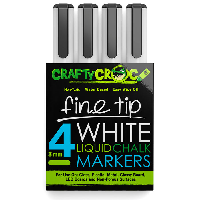 Fine Tip Liquid Chalk Markers - 4 White