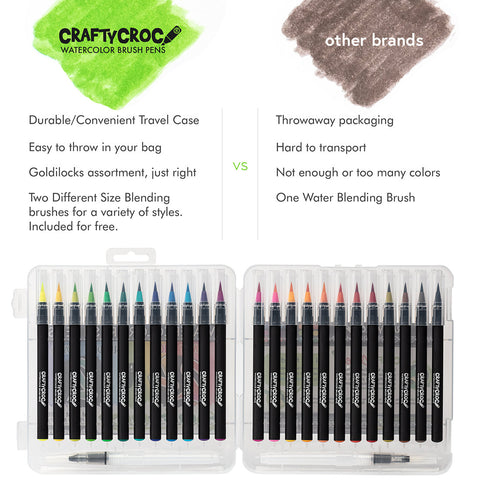 Image of Watercolor Brush Pens - 24 Colors plus 2 Blending Brushes