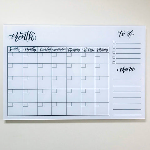 Image of Acrylic Wall Calendar w/ Menu and Todo List (20x30)