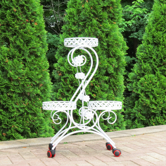 S-Shaped 3 Basket Plant Stand with Casters