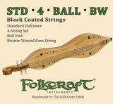 "Folkcraft® Black Coated Mountain Dulcimer String Set, Ball Ends (.011"" .011"" .013"" .024""BW)-Folkcraft Instruments"
