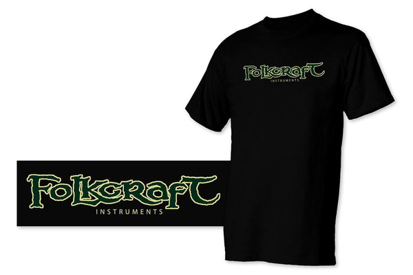 """Folkcraft® Instruments"" Logo T-Shirt, Black, Medium-Folkcraft Instruments"