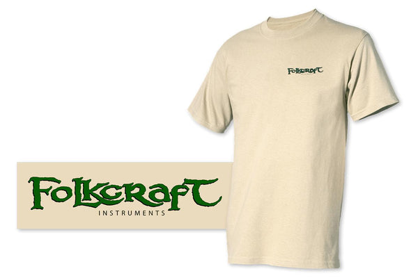 """Folkcraft® Instruments"" Logo T-Shirt, Tan , Large-Folkcraft Instruments"